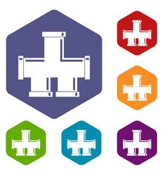 Drain system icons set hexagon vector