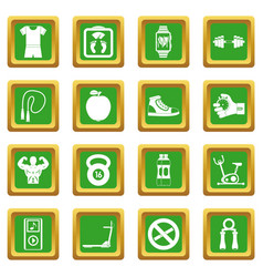Fitness icons set green vector