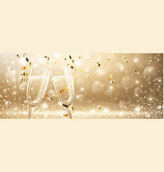 glasses of champagne with confetti vector image vector image