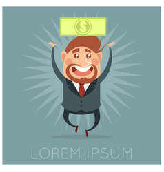 Happy businessman and its money vector