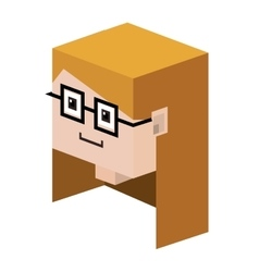 Head lego girl with blonde hair and glasses vector