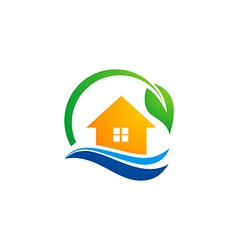 House leaf ecology environment water logo vector