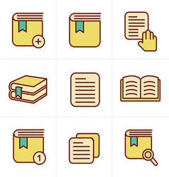 Icons Style Book Icons Set Design vector image
