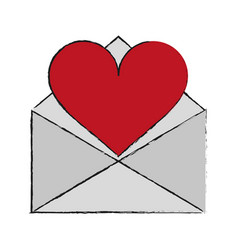 letter heart draw vector image vector image