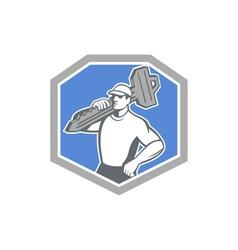Locksmith carry key shield retro vector
