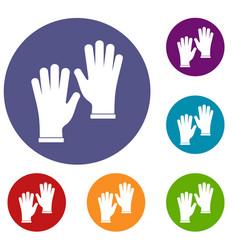 Medical gloves icons set vector