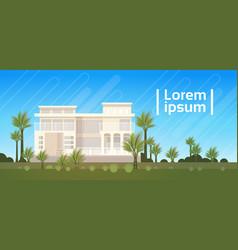 Modern villa house building exterior real estate vector
