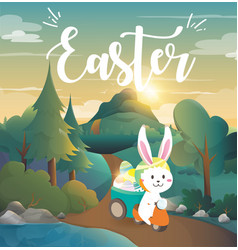 Rabbit drives a motorcycle to deliver easter eggs vector
