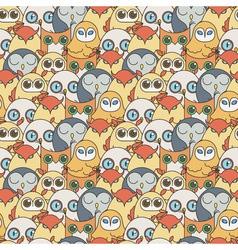 Random owls seamless pattern cute nignht birds for vector