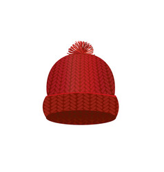 red knitted winter cap vector image