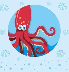 Red squid underwater vector image vector image
