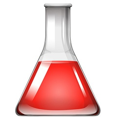 Red substance in glass beaker vector image