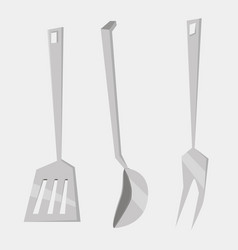 Set kitchen utensils cooking tools flat style vector