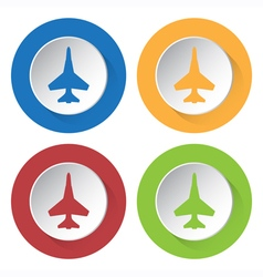 set of four square icons with fighter vector image