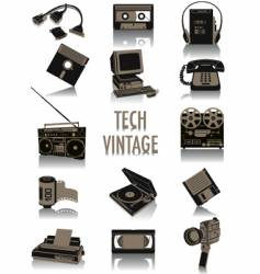 tech-vintage silhouettes vector image vector image