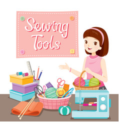 woman with sewing tools set vector image
