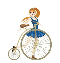 Retro bike and girl2 vector
