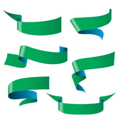 Blue green ribbon patterns vector