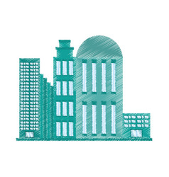 Drawing building architecture modern vector