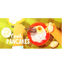 Pancakes cooking bright color vector