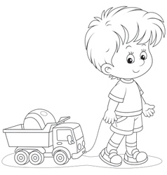 Boy walking with toys vector