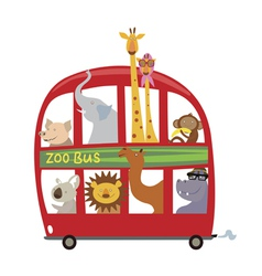 Cartoon animals in the bus vector