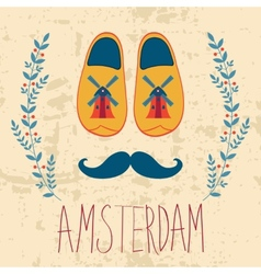 Colorful amsterdam composition vector