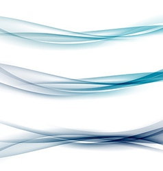 Three abstract modern swoosh border line waves vector