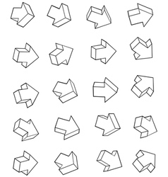 Arrow outline icon collection over white backgroun vector