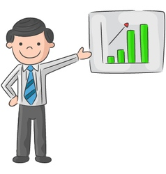 Cartoon man is explaining the presentation vector image
