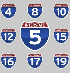 Interstate signs 4-19 vector