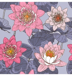Seamless Floral Background with Water Lilies vector image