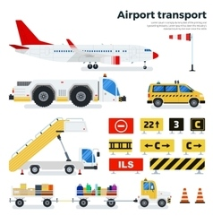 Different airport transport on white background vector