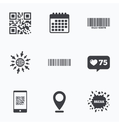Bar and qr code icons scan barcode symbol vector