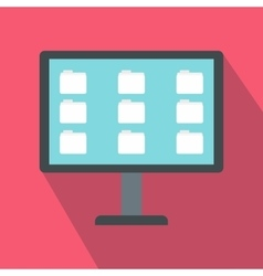 Desktop of computer with folders icon flat style vector
