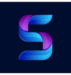 S letter volume blue and purple color logo design vector