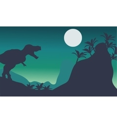 Beautiful scenery tyrannosaurus at the night vector image vector image