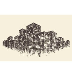 Big City Concept Architecture Engraved vector image