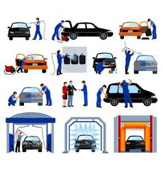 Car wash service flat pictograms set vector