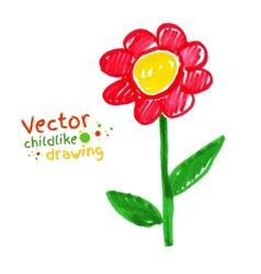 Childlike drawing of flower vector image vector image