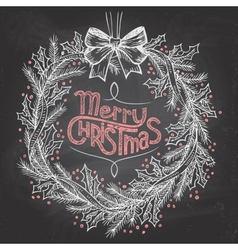 Christmas wreath with chalk vector image vector image