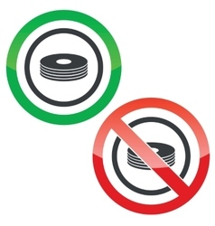 Compact disc permission signs vector image vector image