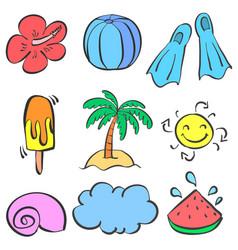 Doodle element summer set style vector