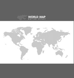 Dotted gray world map small dot vector