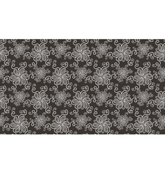 Elegant white flower seamless pattern on brown vector