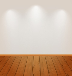 Empty wall with light and wooden floor vector image