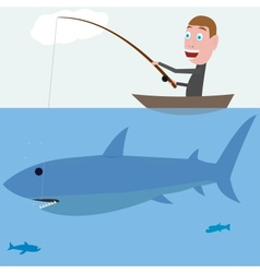 Fisher and shark vector image