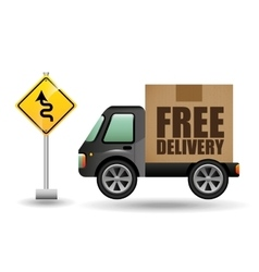 free delivery truck traffic road sign vector image