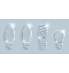 Glass lightbulbs set on grey background vector image