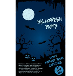 Halloween party flyer template - blue and black vector image